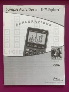 Texas instruments sample activities TI-73 Explorer Explorations