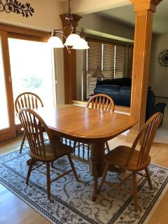 "Oak kitchen table-60 X 42 oblong- 2 18"" leaves-6 chairs"