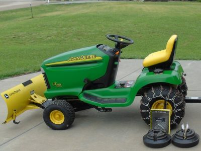 """JD Lawn Tractor with 44"""" Snow Blade, Chains & Weights"""