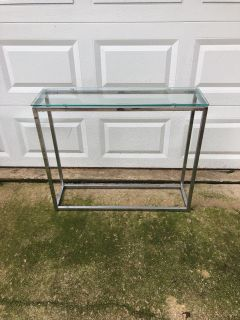 New never used tempered glass side table! 30 1/2 tall x 35 1/2 long x 10 wide $20