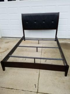 New Ashley / Dark Wood Trim / Leather Contemporary Queen Bed