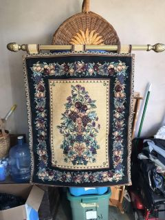 Vintage Floral fruit tapestry Wall hanging gold pole. 42 1/4 H x 44 W
