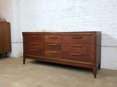 Mid-Century Walnut Triple Dresser or Credenza