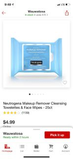 New neutrogena makeup remover wipes