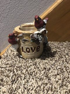Holiday small candle holder/decor