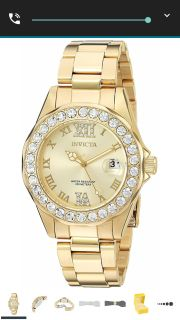 Invicta women 18k gold plated ion watch