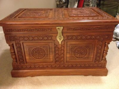 Carved wood trunk/ chest