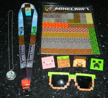 Minecraft Lot Magnets Pins Sunglasses Lanyard Necklace Custom Made Steve