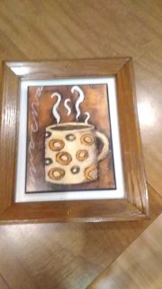 Coffee picture in frame, 12 tall 10 inches wide overall