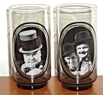 Vintage 1979 Arbys W C Fields Laurel Hardy Hollywood Actors Collector Drinking Glass Lot