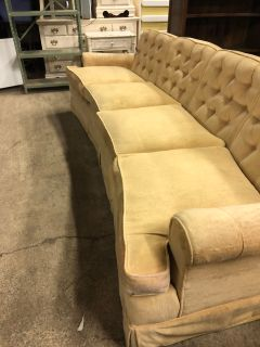 Mid century modern tufted 8.5 foot sofa