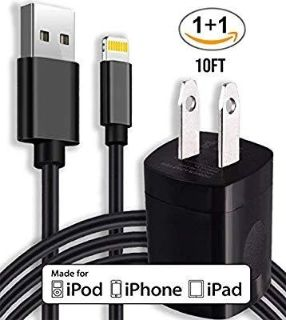 10ft Lightning Cable and 5v Wall Outlet Adapter COMBO - iPhone 5, iPhone 6, iPhone 7, iPhone 8, iPhone X All Devices Bundle Package!
