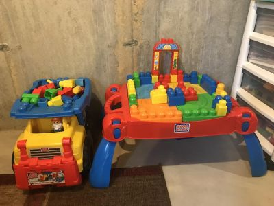 Mega Blocks with Table and Dump Truck