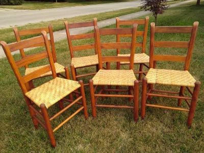 Six Smaller Shaker Ladder Back Chairs