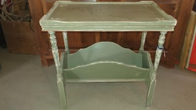 Farmhouse Green Distressed Side Table/ Magazine Stand