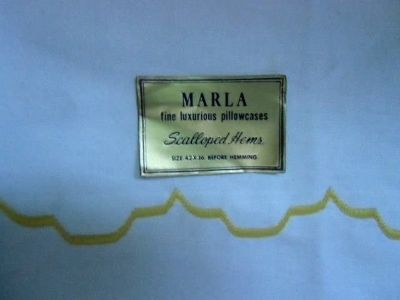 "vintage 1960's pillowcases pair 32 1/2"" x 20"" yellow scalloped hem noswt! marla"