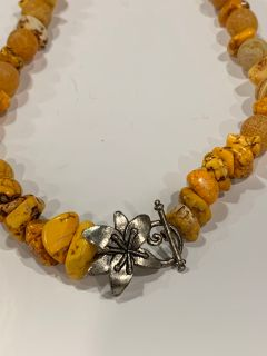 Yellow Stone Necklace with Metal Flower Clasp
