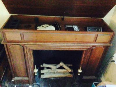 0ld record,8 track, radio,fireplace