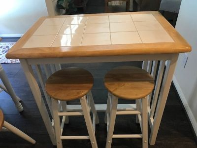 Bar height table w/ 2 stools