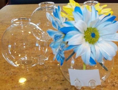 Set of 12 Flower Vase Place Card Holder Hand Blown Glass