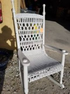 Vintage White Wicker Rocker #345-1311