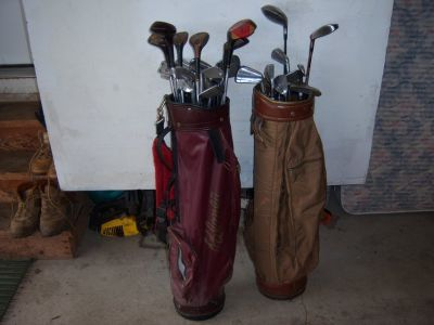32 MISC OLD GOLF CLUBS-WILSON,MCGREGOR, ETC. DRIVERS ,2 PUTTERS.IRONS