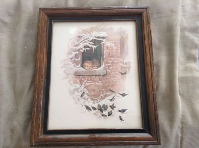 Vintage Unsigned Print in Modern Type Frame Under Glass