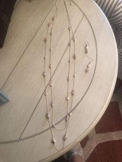 NEW Long double chain necklace and matching earrings
