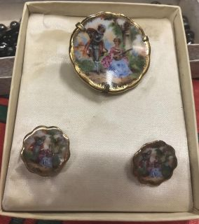 Limoges porcelain pins and earrings!