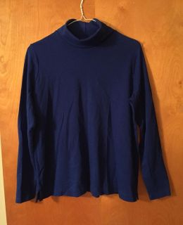 Women s Land s End royal blue relaxed fit large (14-16) turtleneck