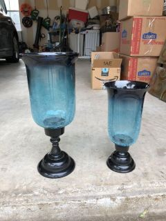 Blue glass vase/candle holders
