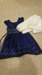 Girls size 7 Blue Holiday dress and coat