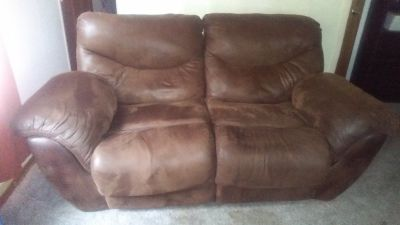 Brown Suede Couch and Loveseat