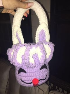 Crocheted bunny basket purple and white