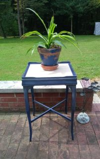Refinished navy blue side table/plant stand with ceramic tile top