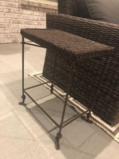 Small wicker outdoor end table