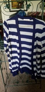 CRIS AND CAROL navy and white stripes light weight sweaterxl