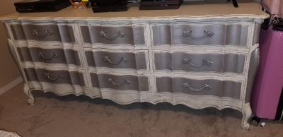 Custom painted distressed french provincial 9 drawer dresser