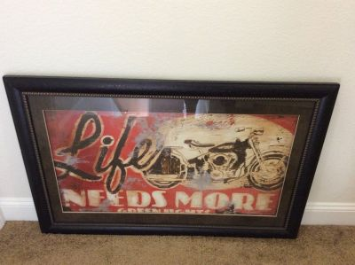 Motor cycle picture in frame