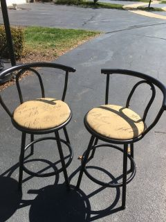 Set of 2 vintage retro French postale bar kitchen stools chairs