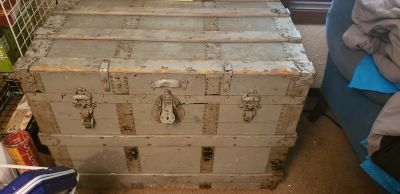 Metal and wood grey antique chest