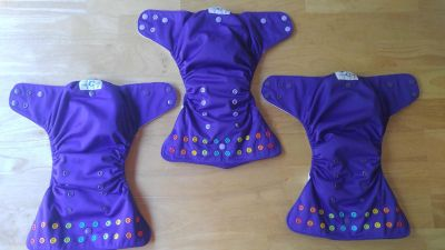 3 Dark Purple Lalabye Baby Cloth Diapers