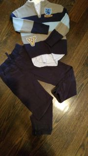 Gymboree size 6 navy pants, chaps button up and sweater. All size 6 6