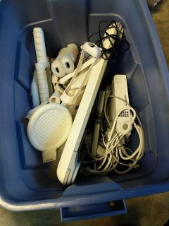 Wii Fit and sports accessories.