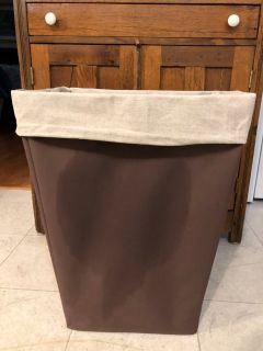 Canvas Laundry Hamper, EUC, 17 across, 12 deep, 22 tall, slide for more pics