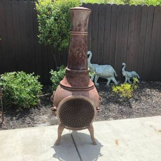 Cast Iron Chiminea Outdoor Fireplace / Grill