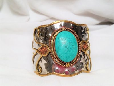 Native Southwest Silver Tone Copper Turquoise Blue Bangle Cuff Bracelet Indian Handcrafted