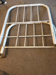 Vintage Metal White Twin Bed Headboard and Footboard
