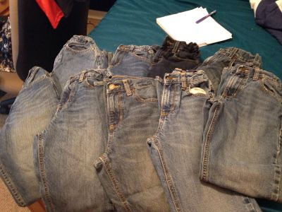 9 pairs of boys size 12 slim jeans lot