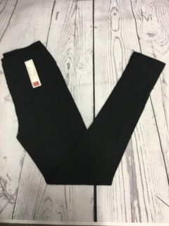 NWT one size solid black leggings with yoga waistband